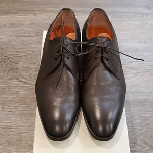 Men's 9.5 Dark Brown leather Dress shoes Santoni